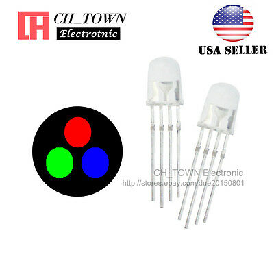 100Pcs 5mm 4pin RGB Tri-Color Common Cathode LED Red Green Blue