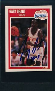 1989/90 Fleer #70 Gary Grant LA Clippers Signed Auto *54086