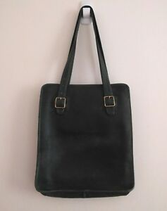 EARLY COACH Vintage 70s RARE Green Leather Slim NYC Tote Bag Bonnie ... a0ec5fc42764f