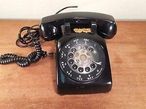 Vintage-WESTERN-ELECTRIC-BELL-SYSTEM-Black-500-Desktop-Rotary-Dial-Telephone