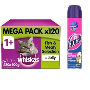 Whiskas Adult Cat Food 120 Pouches & Vanish Pet Expert Carpet Cleaner Foam 600ml