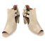 thumbnail 2 - Womens Ladies Beige Faux Leather High Heel Peep Toe Sandals Shoes Size UK 7 New