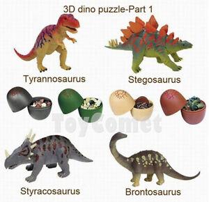 Set of 4 Dinosaur Dino Part X 4D 3D Puzzle Egg Model Kit DIY Educational Toy