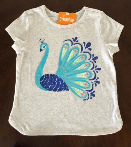 NWT Gymboree Girl Heather Grey Peacock Tee /& Blue Ikat Shorts Outfit 2T 3T 4T 5T