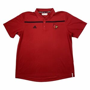 Adidas Climalite Mens Louisville Cardinals Logo Collared Polo Shirt Red Black XL