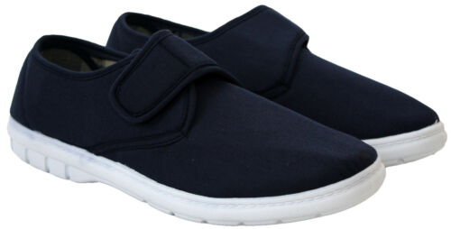 MENS CANVAS EASY CLOSE PUMPS WIDE FIT WALKING TRAINERS LIGHTWEIGHT CASUAL SHOES