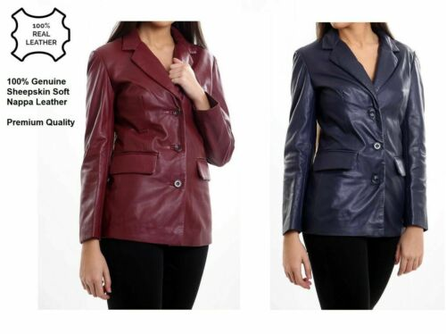 Womens Leather Jacket 100/% Genuine Leather Vintage Blazer Coat UK Stock