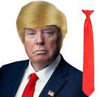 Blonde USA President Halloween Donald Trump Fancy Dress Wig & Red Tie Set