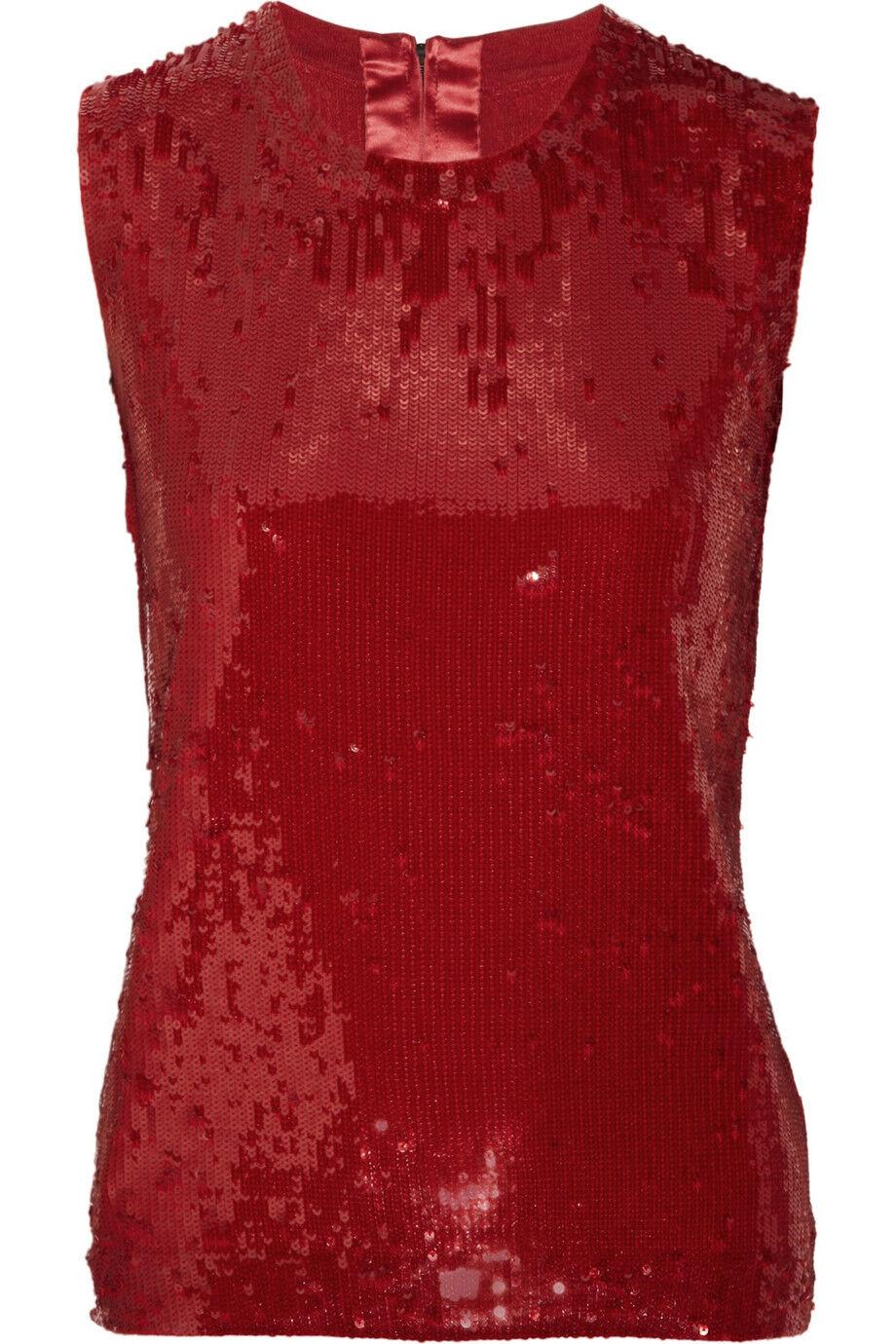 1980 Nueva mujer Karan  Nuevo York Rojo Lentejuelas Top azulsa de seda de Cachemira Navidad S  costo real