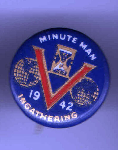 1942 WWII HOMEFRONT pin V for VICTORY pinback MINUTE MAN button
