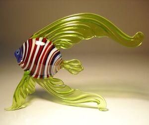 "Blown Glass ""Murano"" Art Figurine Green with Red & White Stripes Angel FISH"