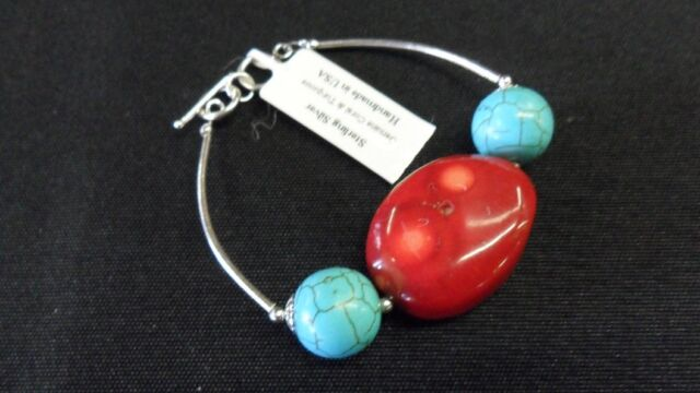 Turquoise & Coral Sterling Silver Bracelet 6