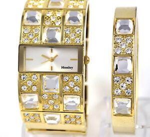 Damen-Henley-echtes-Kristall-Gold-Tone-Wide-Watch-oder-UHR-amp-ARMREIF-boxed-Geschenk-Set