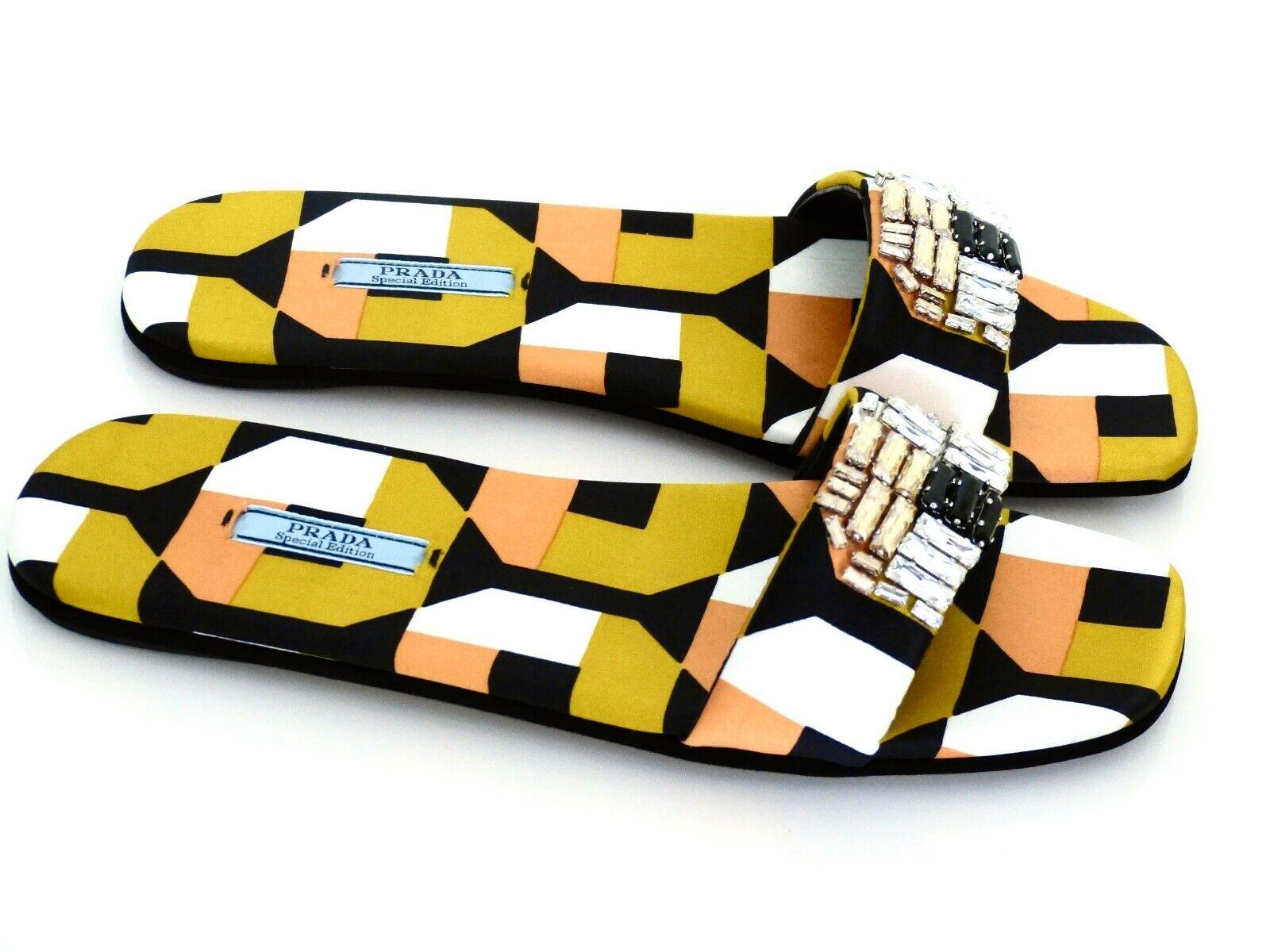 Prada señora sandalias zapatos Flats Crystal Stone Limited Edition eu 39, 5neu new