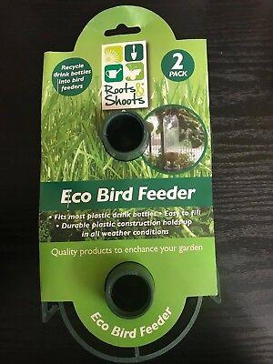 2 PACK HANGING BOTTLE TOP BIRD FEEDER RECYCLED PLASTIC DRINK FEEDERS SEED KIT