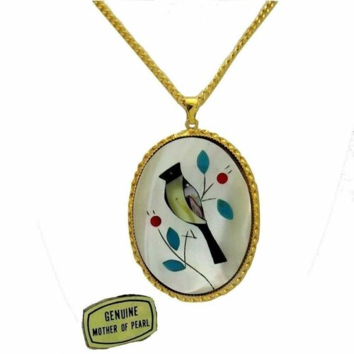 VTG Retro 70s Zuni Style Mother of Pearl Inlay Cardinal Bird Silhouette Necklace