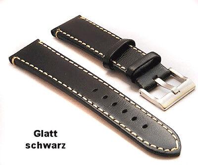 Stier Echt Leder Uhrenarmband  24mm braun flach