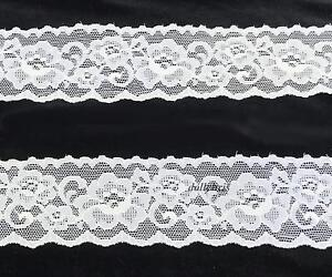 Elastic-Stretch-Lace-Trim-2-034-wide-5-yards-White-Roses-Floral-Lingerie-Lot-B