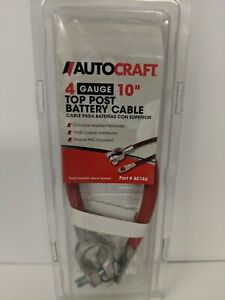 """Autocraft 4 Gauge 10/"""" Top Post Battery Cable-Red New in Package."""