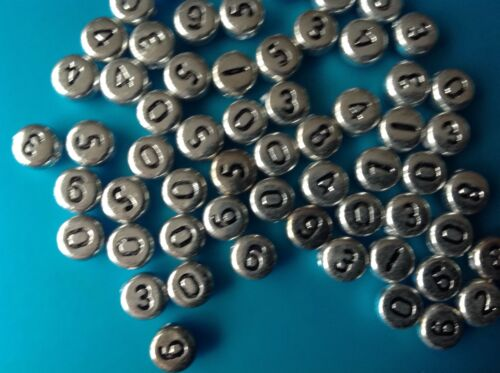 100 x Silver  White or Gold Plated Acrylic NUMBERS Round 7x4mm