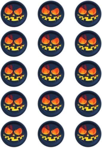 "50mm circles . Scary Pumpkin Face  t19; Cupcake Topper;15 x 2/"" Halloween"