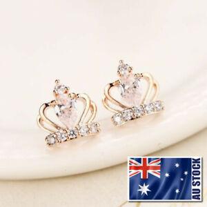 Lady-925-Sterling-Silver-Cute-Crystal-Crown-Stud-Earrings-Elegant-Gift-Jewelry