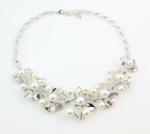 Fashion gold//s plated Crystal Pearl Wedding Necklace Earring Jewelry Sets Gift
