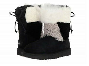 d73f41b1aae Details about NIB UGG Women's size 11 Classic Short Patchwork Fluff Boot  Black # 1098071