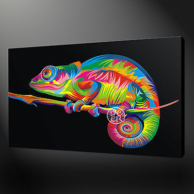 Chameleon Pop Art Canvas Print Picture Wall Art Free Uk Postage Variety Of Sizes Ebay