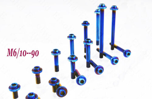 4Pcs Titanium  M6 x10-90mm Bolts screws Dish Head Plum Key for motorcycle