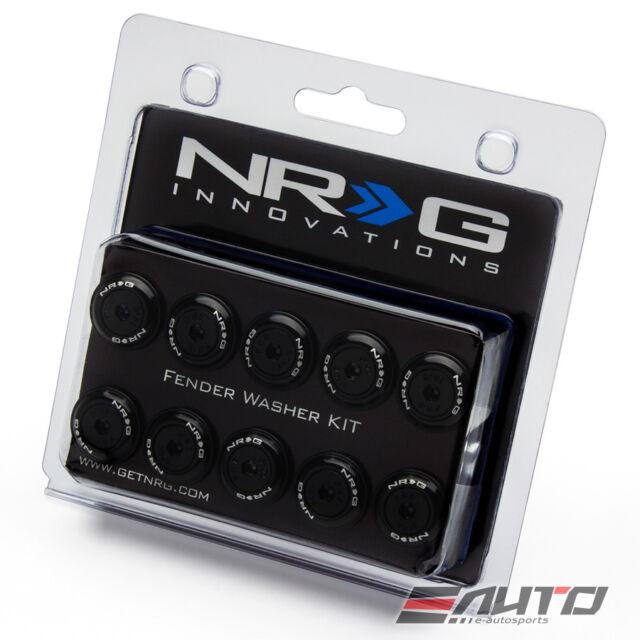 Rivet Set of 10 NRG FW-150BK Fender Washer Kit Black with Color Matched Bolts