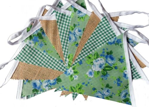 hessian /& floral shabby chic fabric bunting - wedding Green gingham party