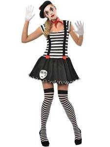 Adult Mime Artist Costume Ladies French Street Circus Womens Fancy Dress Outfit