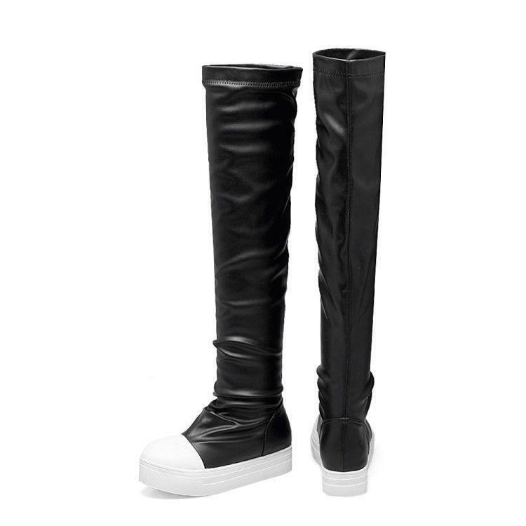 Ladies Black Over Knee Thigh High Boots Platform Leisure Sneakers Pull On shoes