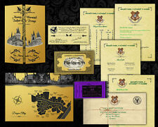 Harry Potter PERSONALISED Hogwarts Acceptance Letter + Maps, Train Bus Tickets