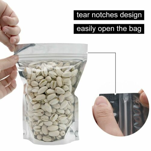 100//500Pcs Food Packaging Ziplock Stand Up Seal Pouches Clear Front Silver Bags