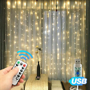 300LED-Curtain-Fairy-Lights-USB-Party-Wedding-String-Light-Home-w-Remote-Control