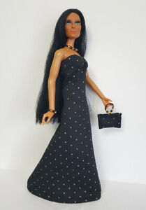 Handmade Clothes Gown beaded Purse and Jewelry for vintage Mego Cher NO DOLL d4e