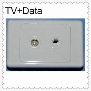 TV ANTENNA ETHERNET NETWORK DATA INTERNET SOCKET OUTLET WALL PLATE RJ45 CAT6
