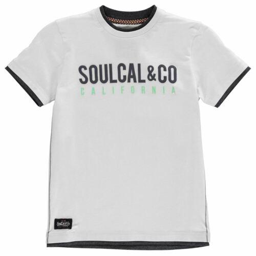 SoulCal Kids Boys Long Line T Shirt Junior Crew Neck Tee Top Short Sleeve