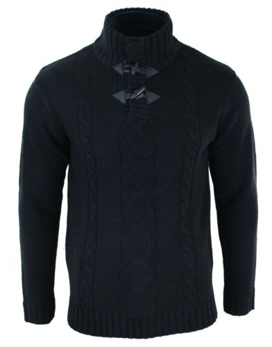 Mens High Neck Knit Wool Texture Jumper Winter Colours Smart Casual Warm Top