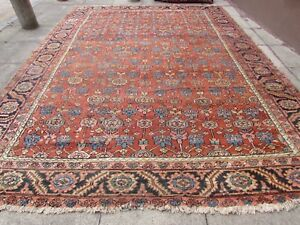 Antique-Hand-Made-Traditional-Rug-Oriental-Wool-Red-Carpet-395x297cm