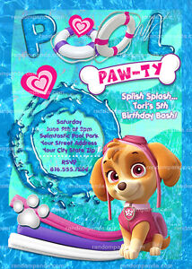 Image Is Loading Skye Birthday Invitation Paw Patrol Pool Party