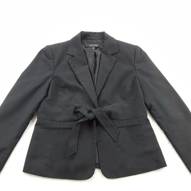 KASPER Petite Size 10P Blazer Jacket Tie Front Black Pinstripe Lined Long Sleeve