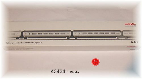 Neuheit -Märklin 43434 - Ergänzungswagen-Set 2 zum THALYS PBKA. Neu in OVP