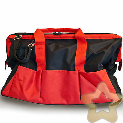 Hard Base 61cm Tool Bag Electrician Carpenter Plumber Box Kit Red Black Large