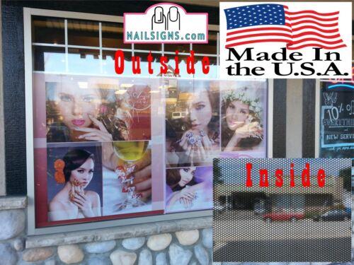 Eyebrows XVI Threading Perforated 70//30 See Through Window Vinyl Salon Vertical