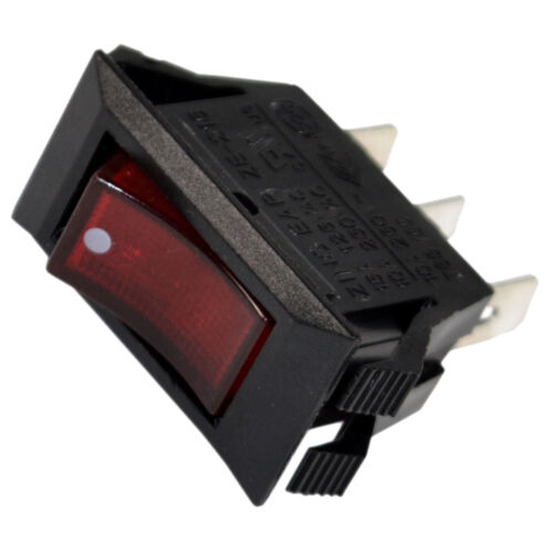 Red Lighted Rocker Switch Black Function ON OFF 3 Prong 15A 125V Neon Lamp