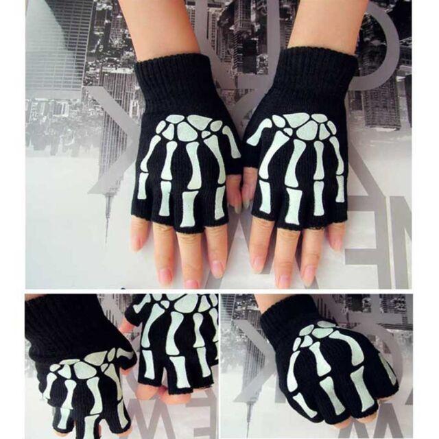 1 Pair Unisex Women Knitting Warmer Black Skeleton Claw Fingerless Gloves 17cm: