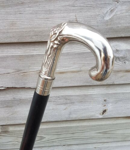 CLASSIC STYLE WOODEN WALKING STICK CANE BRANCH HANDLE NICKLE FINISH